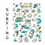 Surfing icons collection for your design