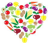 vector veggies heart
