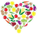 vector veggies heart