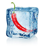 Chili pepper in ice cube