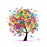 tree, letter, concept, english, vector
