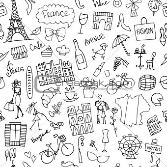 France sketch, seamless pattern for your design