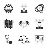 Management icons on white background