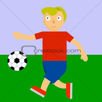Footballer playing soccer on a playground