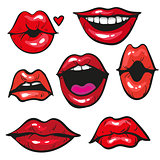 Woman's lip gestures set vecor illustration