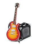 Classic electric guitar with amplifier.