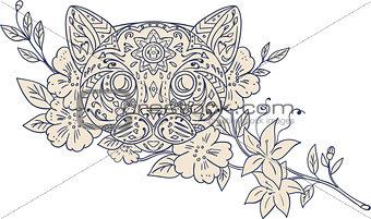 Cat Head Jasmine Flower Mandala