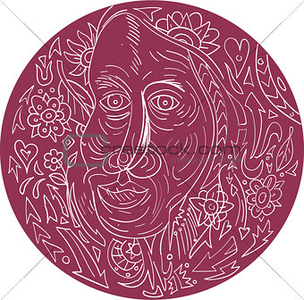 Old Woman Face Circle Mandala