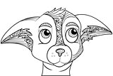 Zentangle stylized doodle ornate vector of chihuahua dog head.