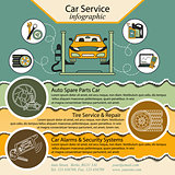 Car repair infographics. Cat service and Tire infographic.