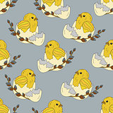 Seamless pattern with chickens in the egg shell and a sprig of willow