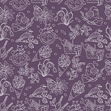 Spring thin line seamless pattern with vector icons.