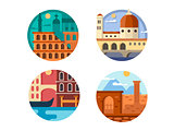 Italy set icon. Rome and Venice