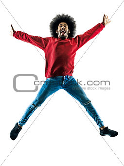 african man jumping happy silhouette isolated