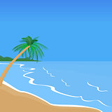 Seaside Landscape. Palm Trees. Beach Vacation.