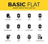 Basic set of Smart watch tech icons