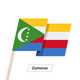 Comoros Ribbon Waving Flag Isolated on White. Vector Illustration.
