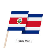 Costa Rica Ribbon Waving Flag Isolated on White. Vector Illustration.