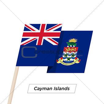 Cayman Islands Ribbon Waving Flag Isolated on White. Vector Illustration.