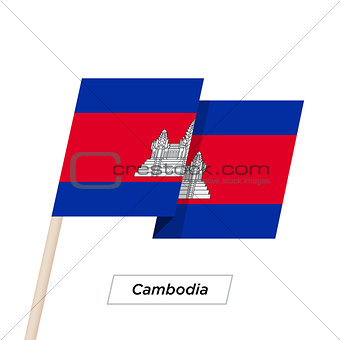 Cambodia Ribbon Waving Flag Isolated on White. Vector Illustration.