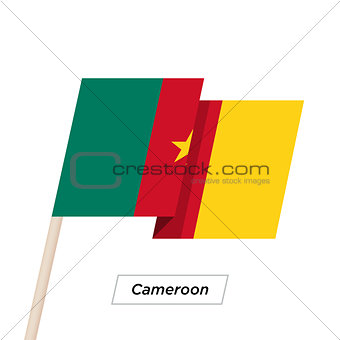 Cameroon Ribbon Waving Flag Isolated on White. Vector Illustration.
