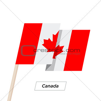 Canada Ribbon Waving Flag Isolated on White. Vector Illustration.