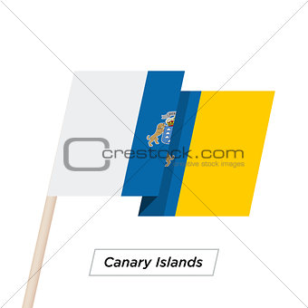 Canary Islands Ribbon Waving Flag Isolated on White. Vector Illustration.