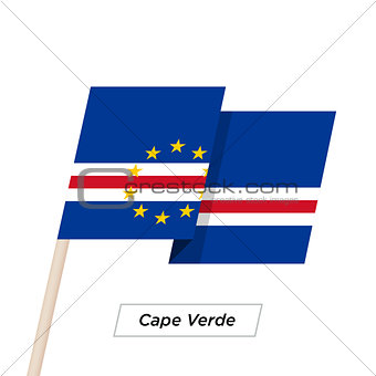 Cape Verde Ribbon Waving Flag Isolated on White. Vector Illustration.
