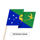 Christmas Island Ribbon Waving Flag Isolated on White. Vector Illustration.