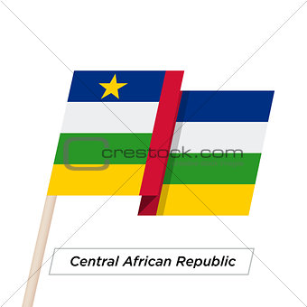 Central African Republic Ribbon Waving Flag Isolated on White. Vector Illustration.