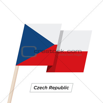 Czech Republic Ribbon Waving Flag Isolated on White. Vector Illustration.