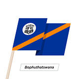 Bophuthatswana Ribbon Waving Flag Isolated on White. Vector Illustration.