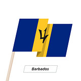 Barbados Ribbon Waving Flag Isolated on White. Vector Illustration.
