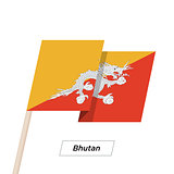 Bhutan Ribbon Waving Flag Isolated on White. Vector Illustration.