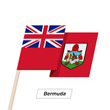 Bermuda Ribbon Waving Flag Isolated on White. Vector Illustration.