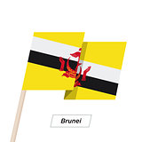 Brunei Ribbon Waving Flag Isolated on White. Vector Illustration.