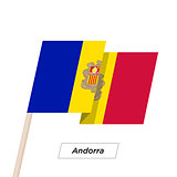Andorra Ribbon Waving Flag Isolated on White. Vector Illustration.