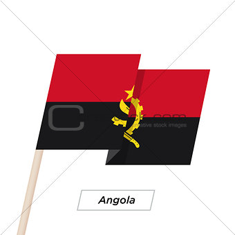 Angola Ribbon Waving Flag Isolated on White. Vector Illustration.