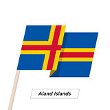Aland Island Ribbon Waving Flag Isolated on White. Vector Illustration.