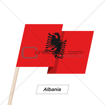 Albania Ribbon Waving Flag Isolated on White. Vector Illustration.