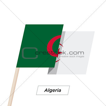 Algeria Ribbon Waving Flag Isolated on White. Vector Illustration.