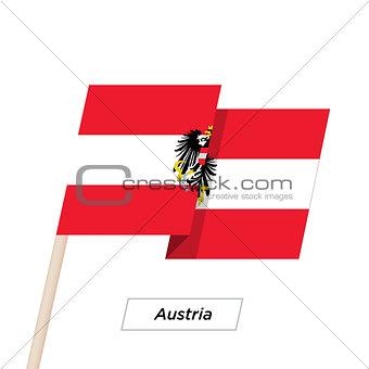 Austria Ribbon Waving Flag Isolated on White. Vector Illustration.
