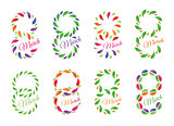 Isolated colorful number eight of leaves and petals with word march icons set, international women day greeting card elements vector illustrations collection.