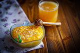 sweet pumpkin porridge with honey and sesame seeds