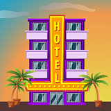 Hotel on sunset landscape. Modern hotel building. Flat style vector illustration