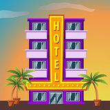 Hotel on sunset landscape. Modern hotel building. Flat style vector illustration