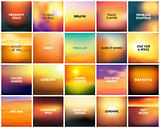 BIG set of 20 square blurred nature golden orange yellow red backgrounds. With various quotes