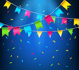 Multicolored bright buntings garlands. Party flags with confetti
