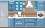 Vector kitchen interior card flat illustration