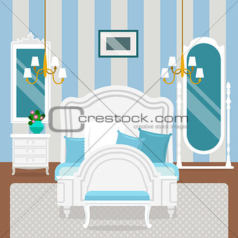 Bedroom interior with furniture in classic style.